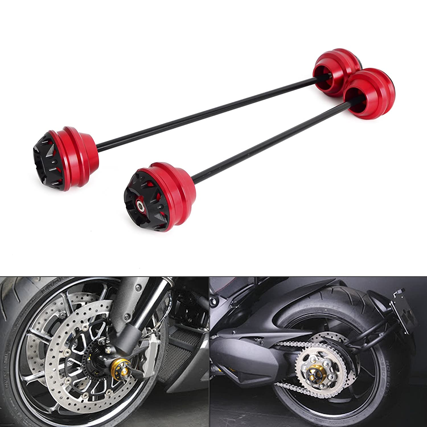H2RACING Motorcycle Red Front Rear Axle Sliders for Ducati Diavel 2011-2016 Panigale 1199 2013-2015 Superbike 1299 Panigale 2015-2016 Superbike 1299 Panigale S 2015