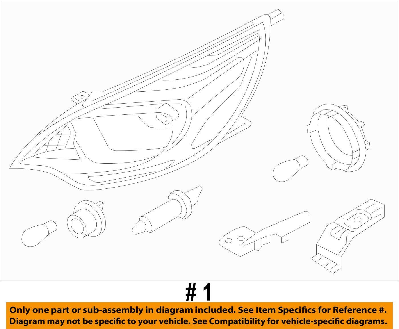 Genuine Kia Left Headlamp Assembly 92101-1W100