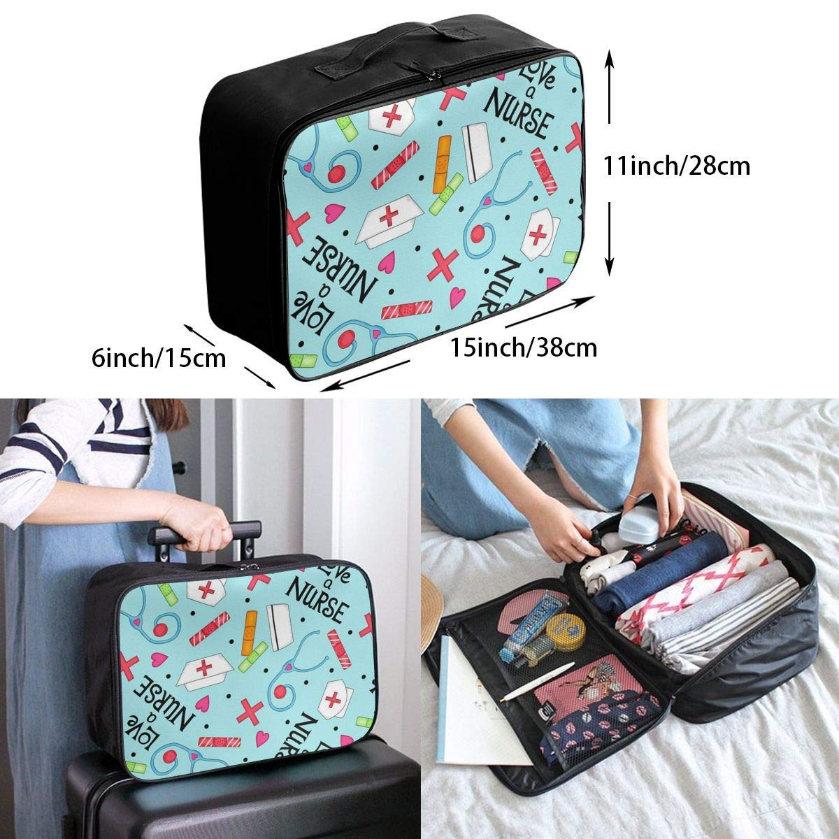 Travel Lightweight Waterproof Foldable Storage Carry Luggage Duffle Tote Bag Love Nurse JTRVW Luggage Bags for Travel