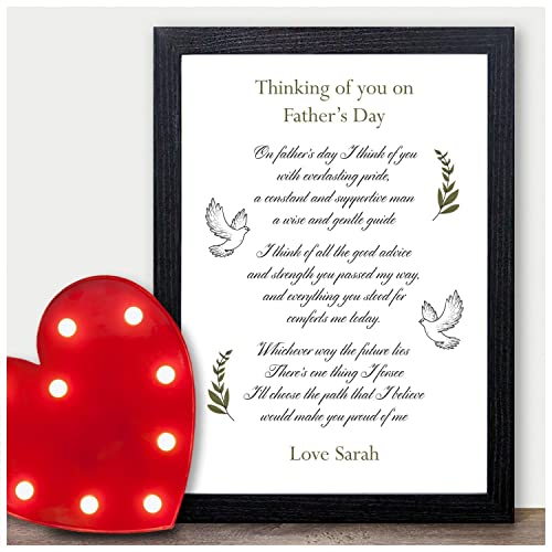 Thinking of You on Fathers Day Personalised Keepsake Print ...