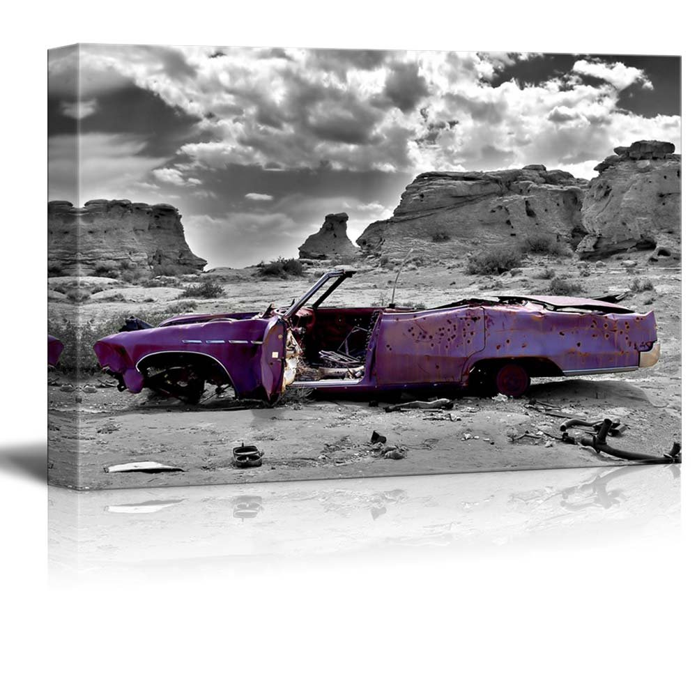 Abandoned Purple Car In Desert Wall Decor Ation Canvas Art Wall26