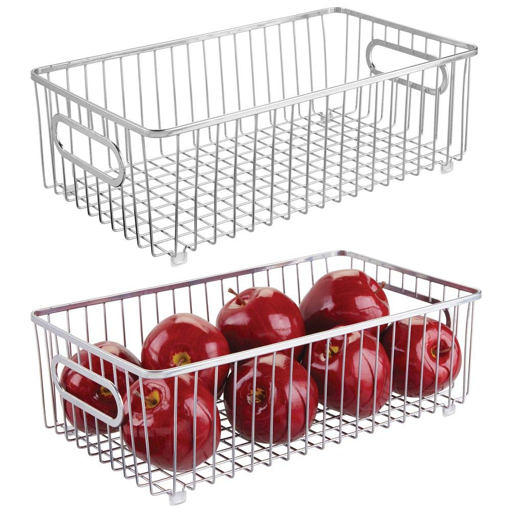 mDesign Metal Farmhouse Kitchen Pantry Food Storage Organizer Basket Bin - Wire Grid Design - for Cabinets, Cupboards, Shelves, Countertops - Holds Potatoes, Onions, Fruit - Large, 2 Pack - Chrome