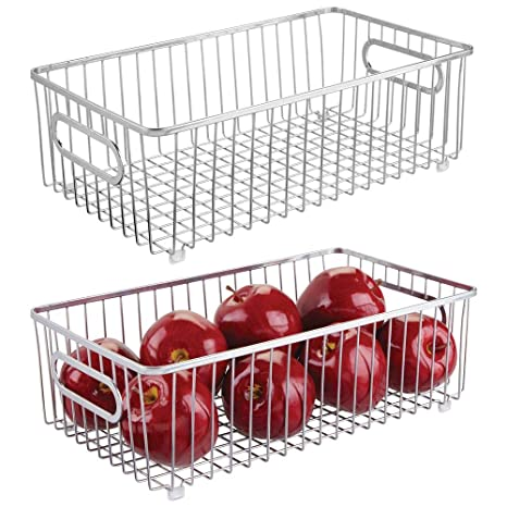 Mdesign Metal Farmhouse Kitchen Pantry Food Storage Organizer Basket Bin Wire Grid Design For Cabinets Cupboards Shelves Countertops Holds