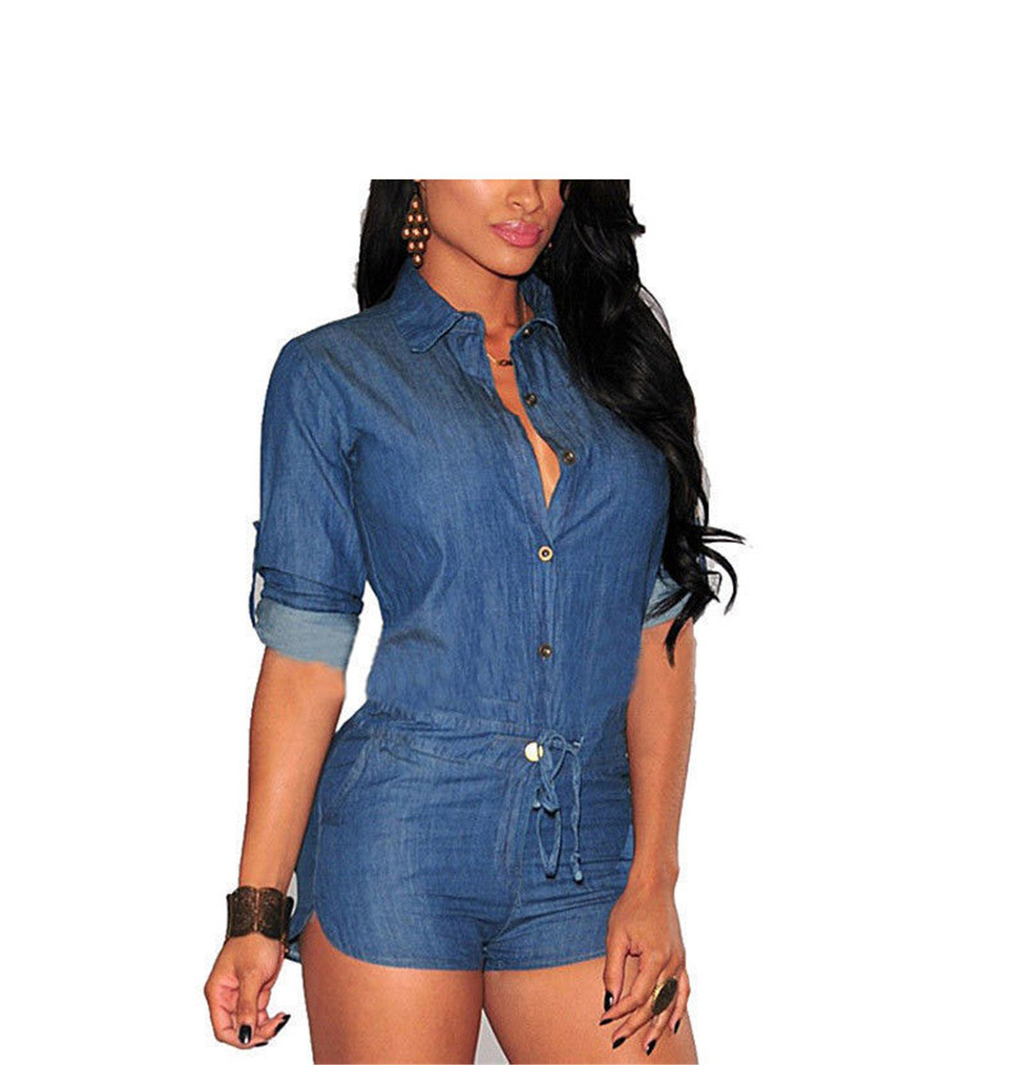 Ygosoon Collar Playsuits Jeans Rompers Womens Jumpsuit