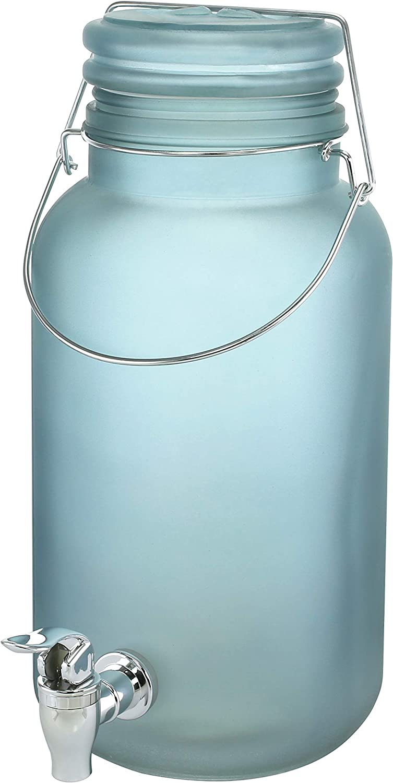 KOVOT Frosted Glass Beverage Dispenser | 1 Gallon Drink Dispenser
