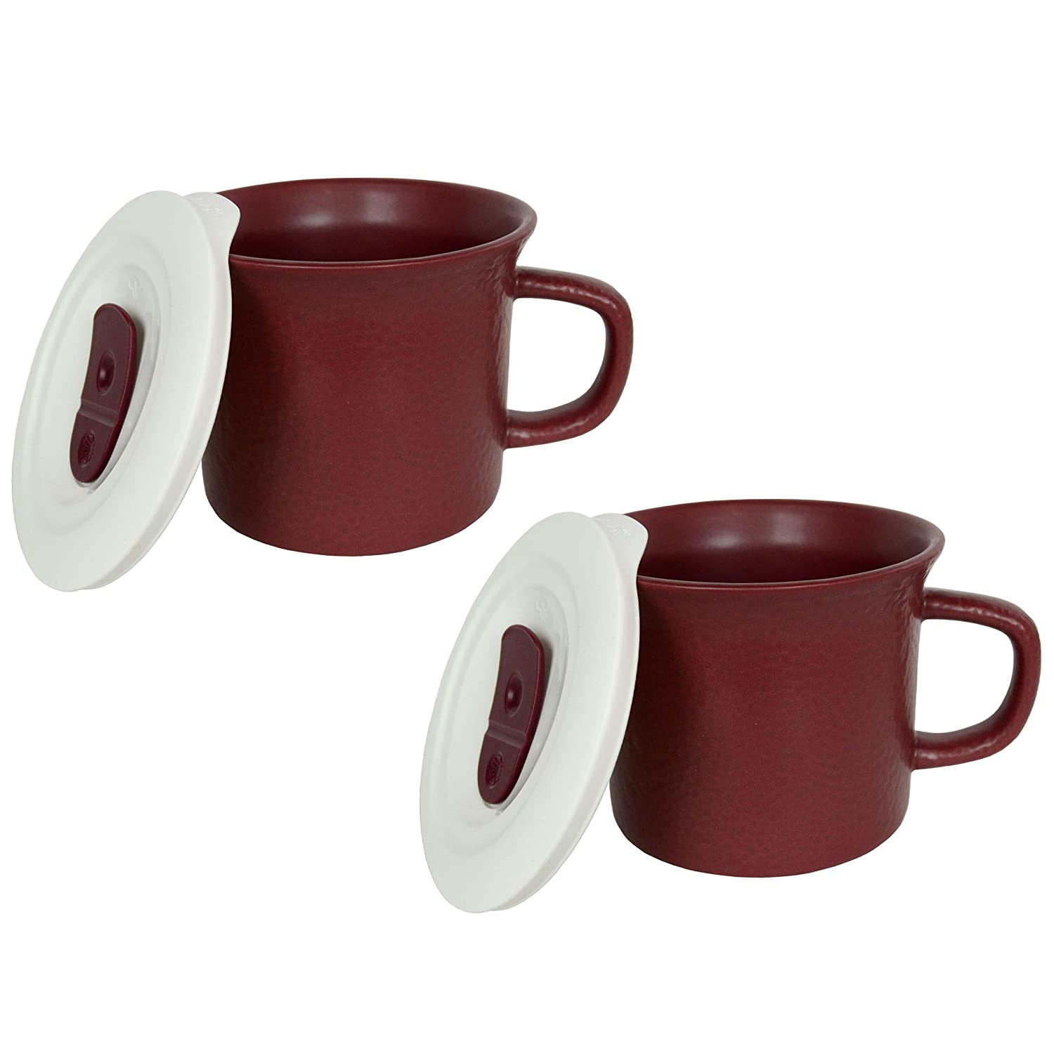Corningware 20 Ounce Hammered Maroon Meal Mug With Vented Lid – 2 Pack