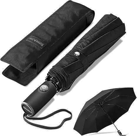 Regenschirm Auf-Zu-Automatik stabil sturmsicher Taschenschirm mit Etui
