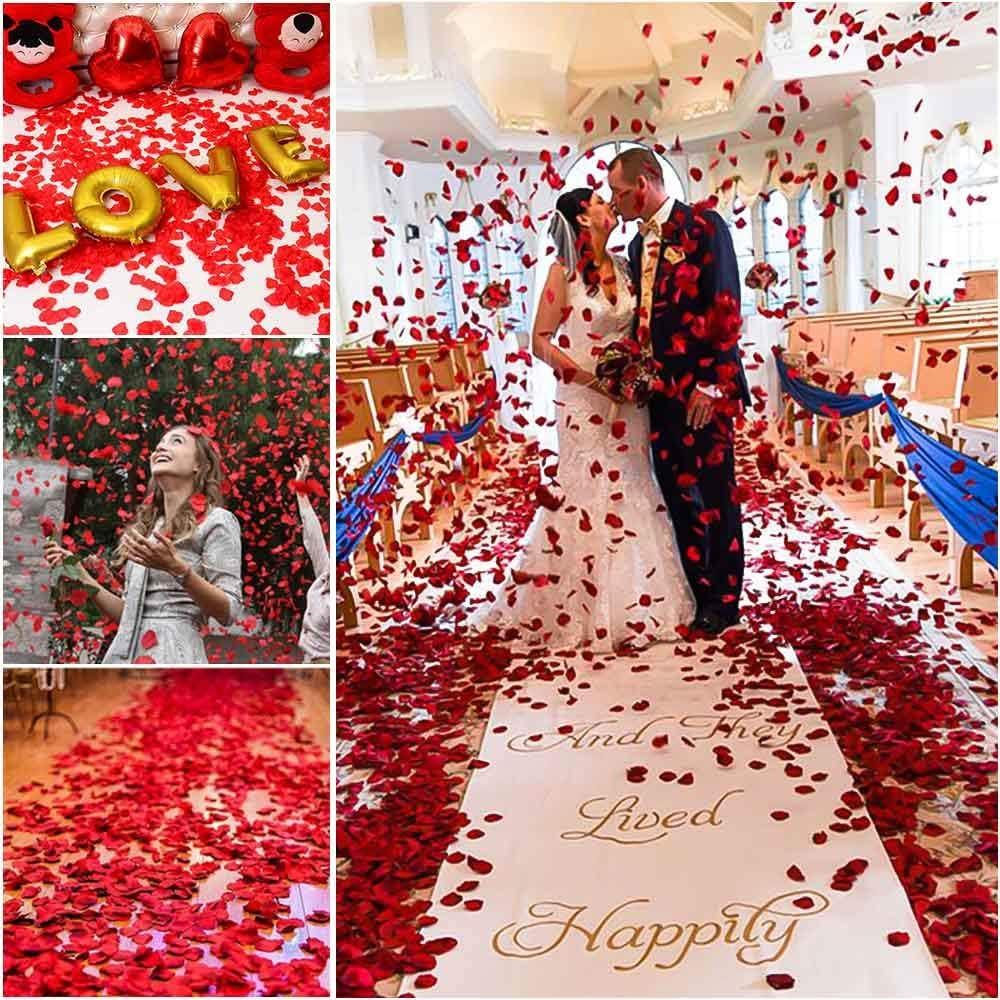 Rot FYSL 1000 St/ück Rosenbl/üten K/ünstliche Gef/älschte Rosenbl/ätter f/ür Hochzeit Party Dekoration und Romantische Atmosph/äre