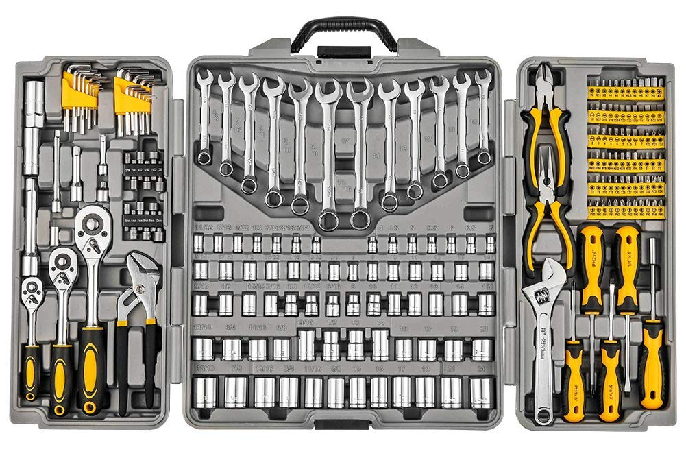 Mechanics Tool Set 205-Piece, Household Tool Kit Set with Tools Box Case for Men and Women by Wilnerkot (Image #1)
