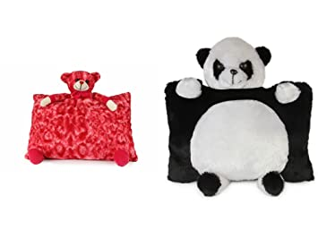 Deals India Red Teddy Pillow( 40 cm) and Panda Pillow (40 cm) Set of 2