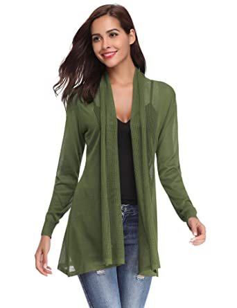 d3ecf005225601 Abollria Women's Beach Cover Up Chiffon Boho Summer Cardigan Kimono Blouse  Swimwear Army Green