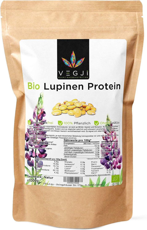 Proteína de lupa orgánica de 1000 g, cultivada en Francia, de lupina dulce, sin gluten, vegana, sin aditivos.