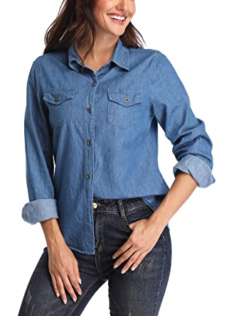 efc44c8fcf704 MISS MOLY Women s Long Sleeve Washed Button Down Jean Shirts Denim Shirt  Top Blouse Western Pockets