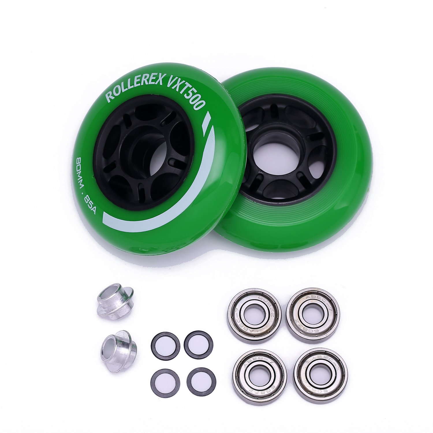 Rollerex VXT500 Inline Skate Wheels (2-Pack w/Bearings, spacers and washers) (Turf Green, 80mm) by Rollerex