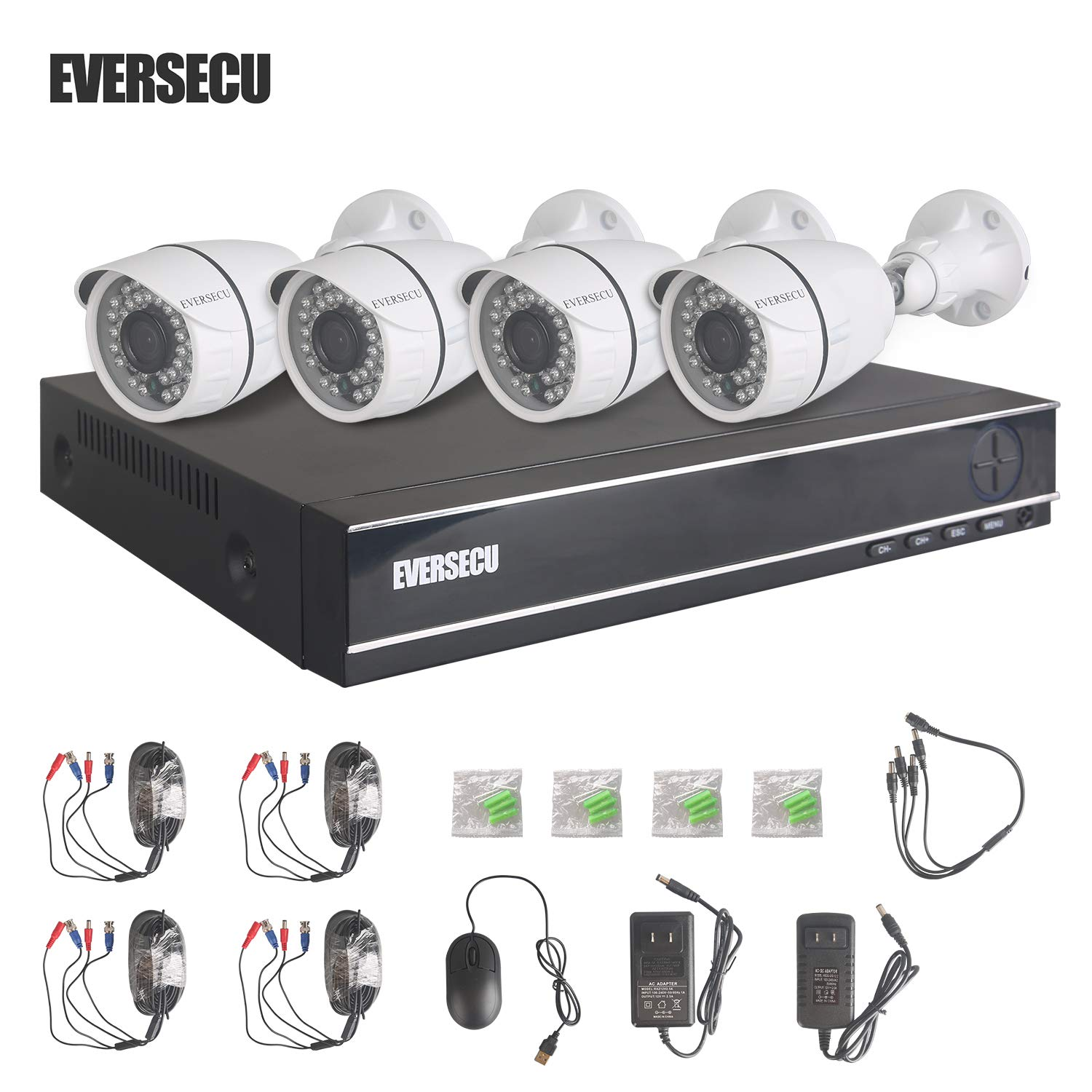 Eversecu 4 Channel Security Camera System 1080N DVR and (4) 1.0MP 720P Weatherproof Cameras Support Night Vison Weatherproof, Motion Alert, Smartphone, PC Easy Remote Access (NO HDD Included) by EVERSECU