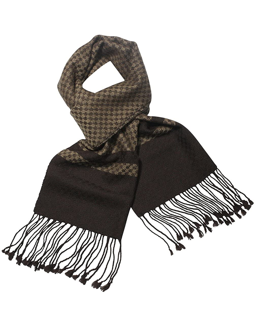 Classy Checker and Striped Block Dahlia Mens Wool Blend Scarf