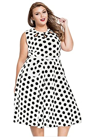 ad07debf563 Pyramid Women s Polka Dot Ruffle Off shoulder Long Sleeves Plus Size Dress  (XXXL