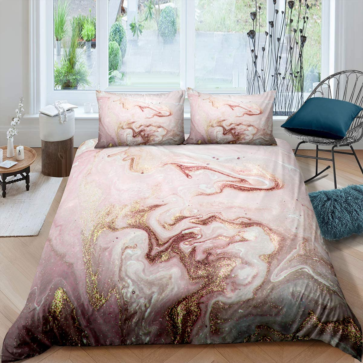 Queen Size Comforter Set Pink Colorful Marble Oil Painting Design Quilt Sets with 2 Pillowcases for Girls Teens