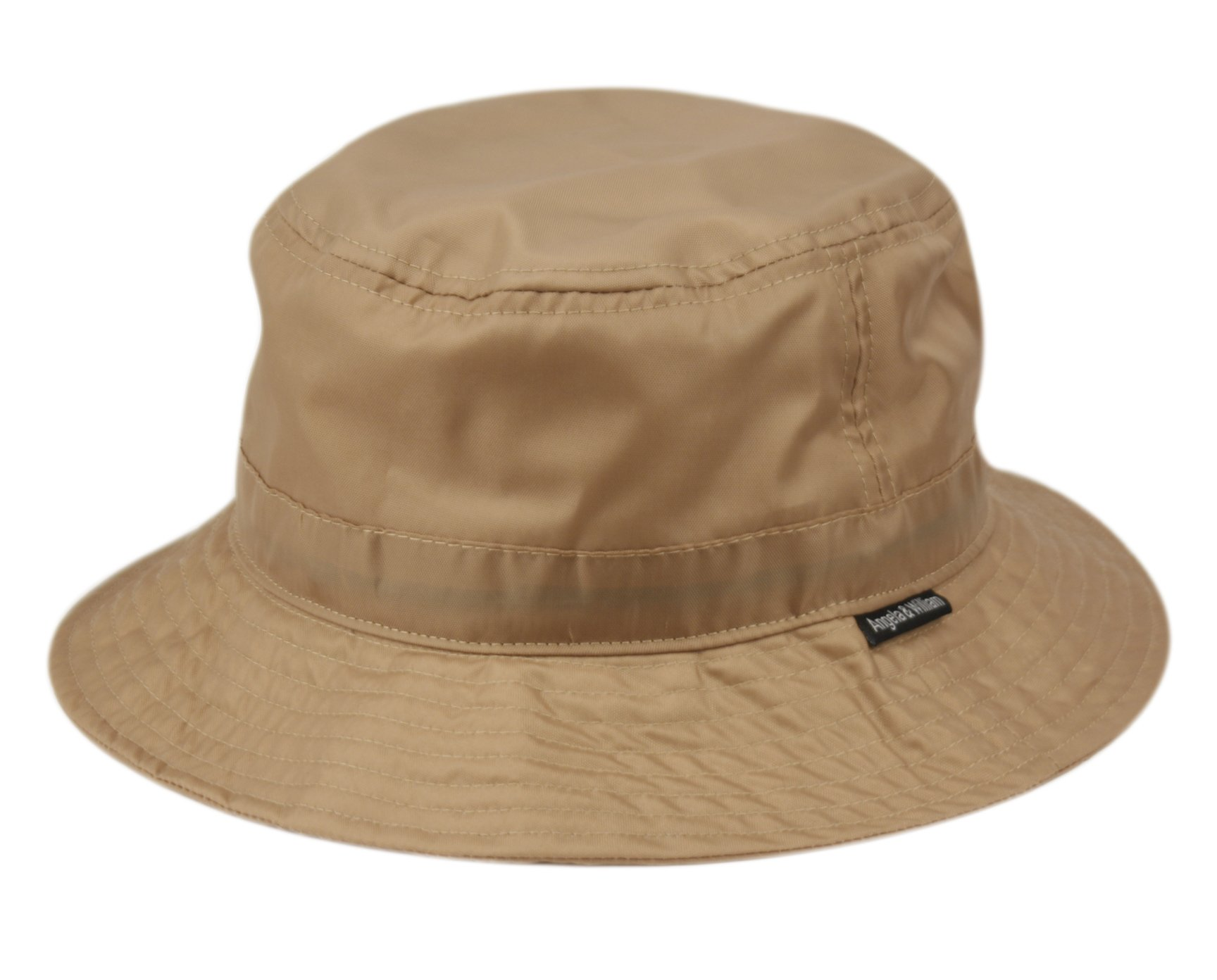 ANGELA & WILLIAM Waterproof Bucket Rain Hat in Nylon (A Khaki)