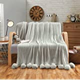 "LIFEREVO 100% Cotton Hypoallergenic Striped Cable Knitted Throw Blanket Pompoms Fringe Solid - GREY / 39""x59"""