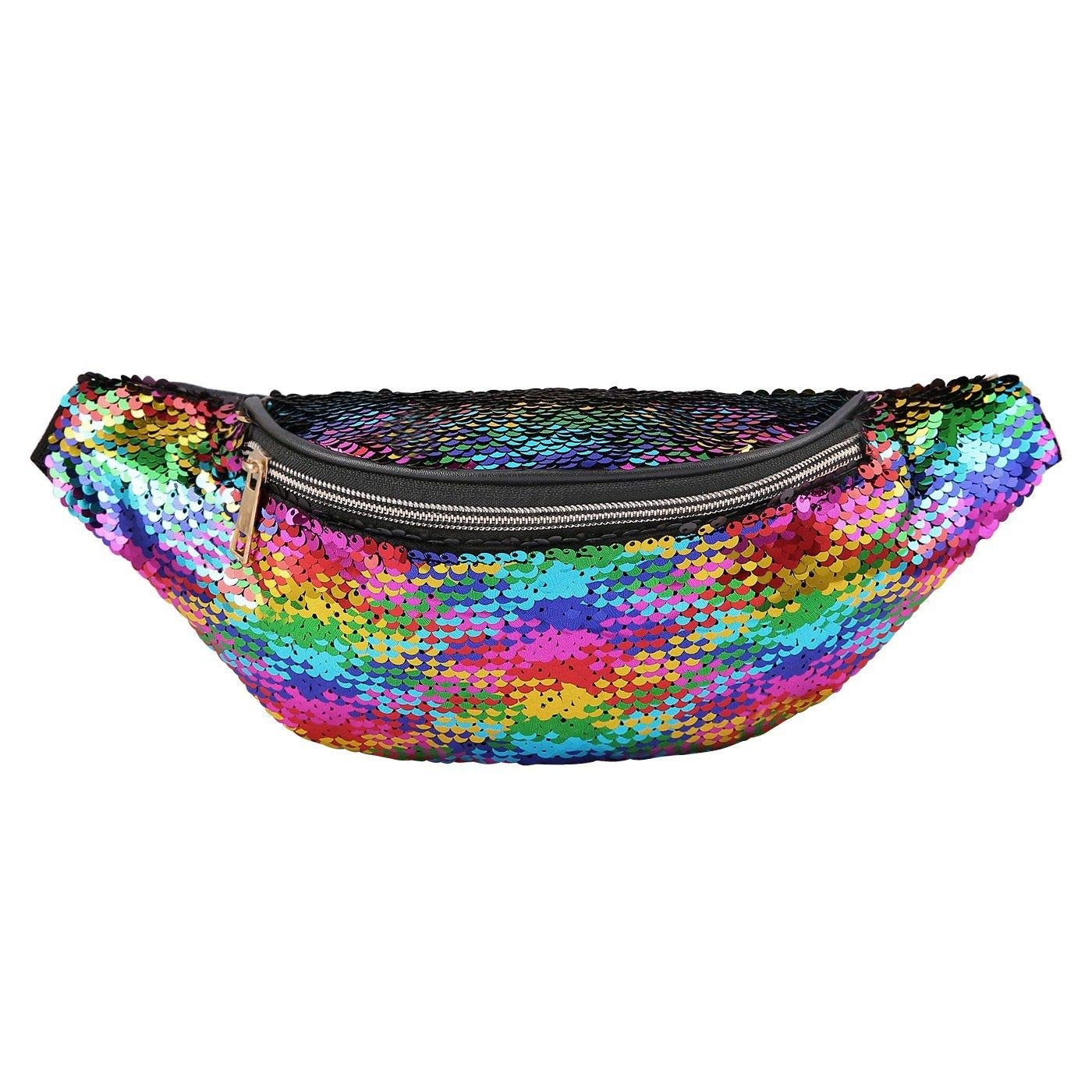 Sequin Fanny Pack Festival Waist Pack Bum Bag Outdoor Travel colorful