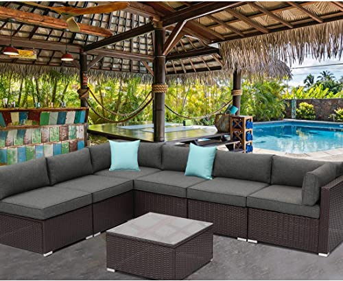 HOMPUS Outdoor 7 Pieces Patio Sofa Set