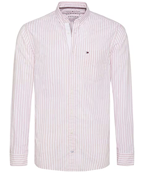 e9a8451b4 Tommy Hilfiger Men's Regular Fit Striped Oxford Shirt Coral: Amazon ...