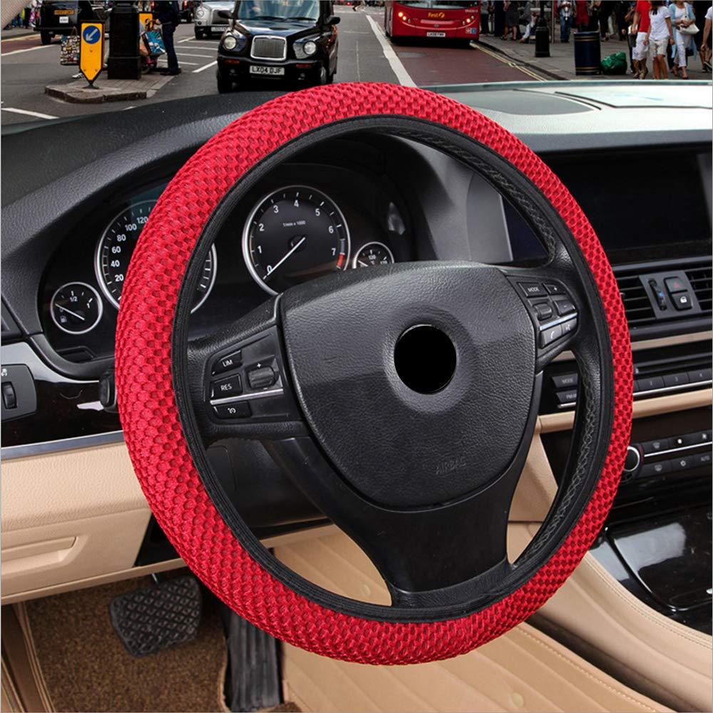 Atmungsaktivit/ät Sandwich Stoff Durable Car Styling Auto Lenkradabdeckung 4 Farben Handmade Skidproof Fit f/ür die meisten Autos Schwarz