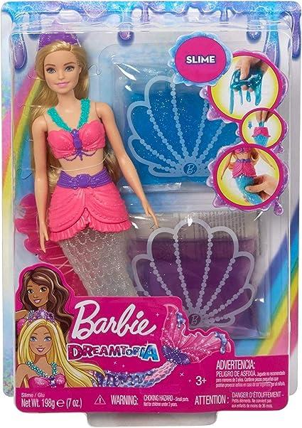 Barbie Dreamtopia Slime Muñeca De Sirena Con 2 Paquetes De Slime Cola Extraíble Y Tiara Es Un Gran Regalo Para Niñas De 3 A 7 Años De Edad Toys Games