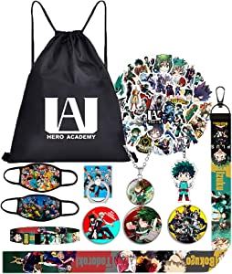 My Hero Academia Bag Gift Set-Including Drawstring Bag Backpack,Waterproof Cartoon Stickers,Blacelet,Keychain,Button Pins,Phone Holder,Lanyard,Necklace