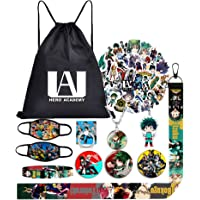 My Hero Academia Bag Gift Set-Including Drawstring Bag Backpack,Waterproof Cartoon Stickers,Blacelet,Keychain,Button…
