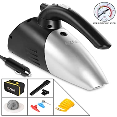 EZfull Car Vacuum Cleaner 4-in-1 Portable Handheld Wet Dry Hand Vacuums For Car, 100W 12v with Air Inflator, Tire Pressure Gauge, LED Light , Car Cigarette Lighter Power Cord