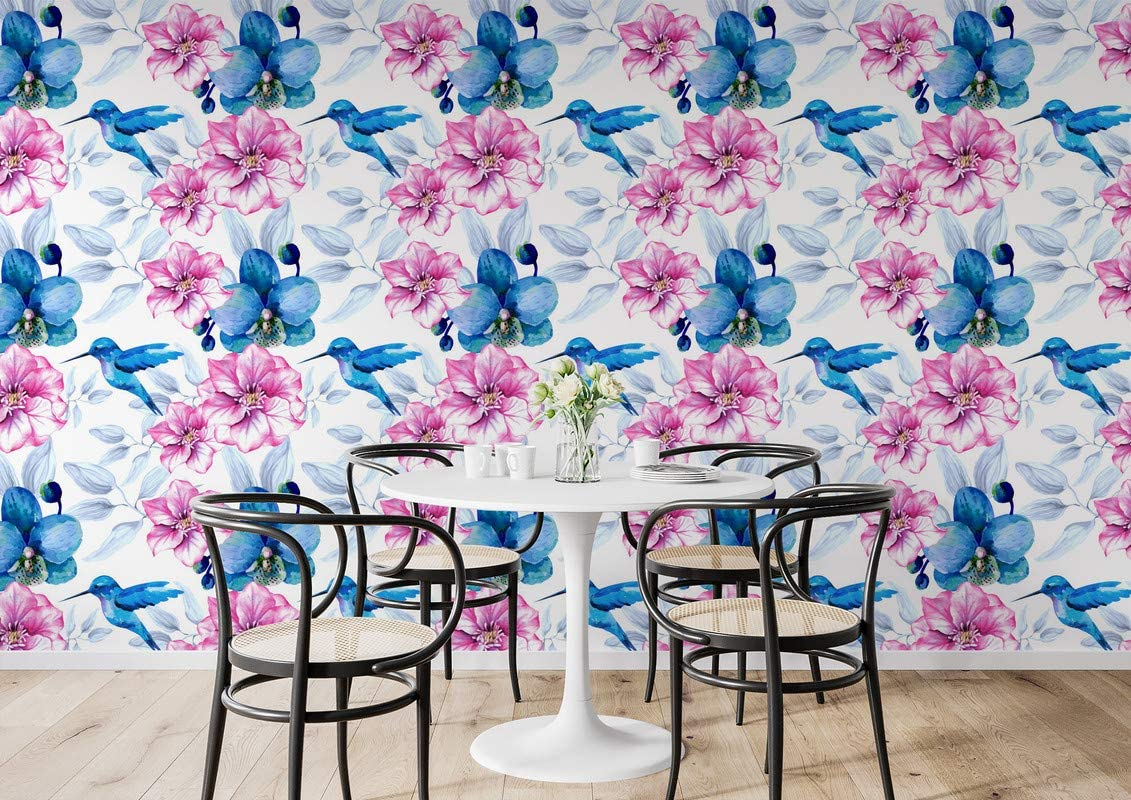 Papel pintado de The Inspire Decor para pared, diseño de pájaro azul y rosa