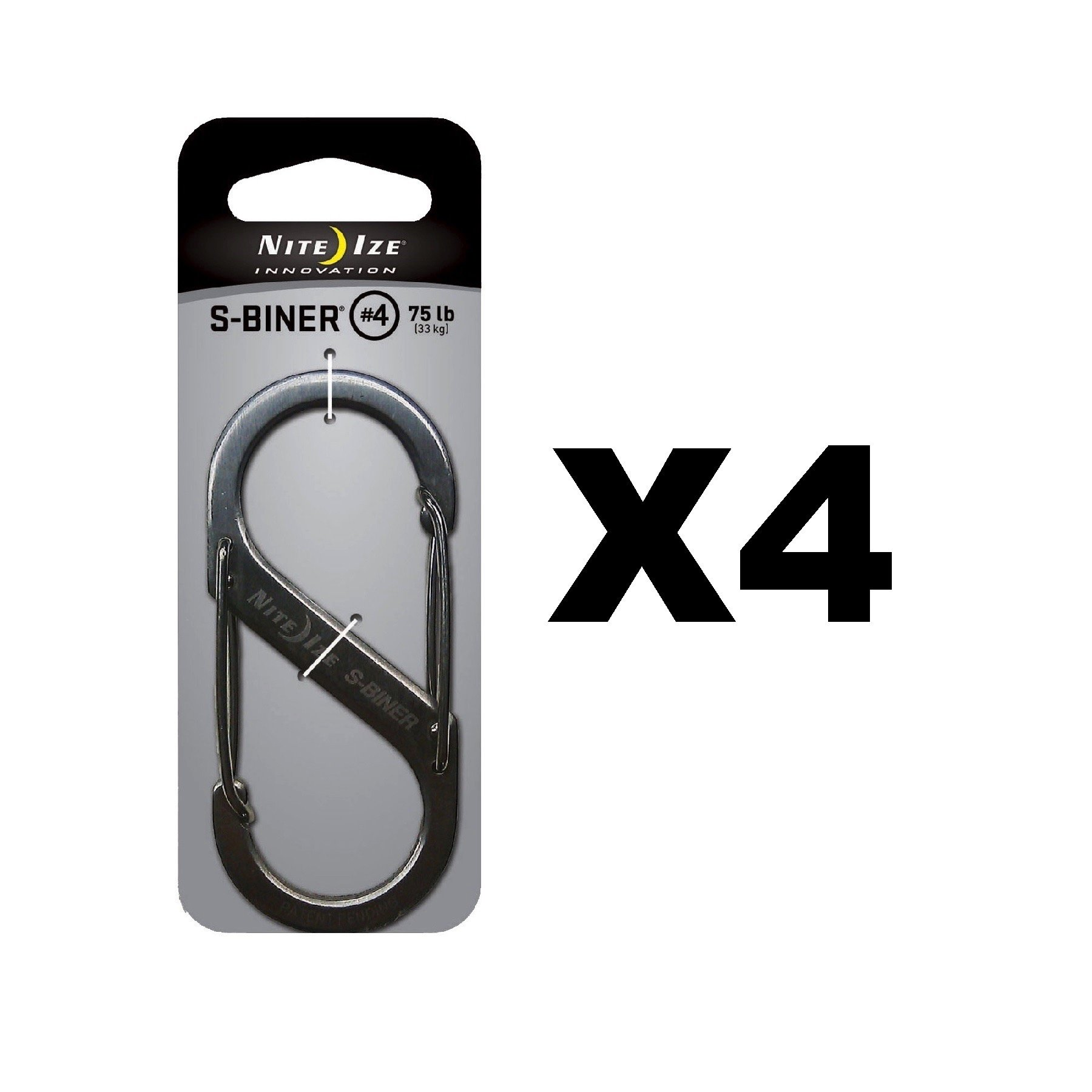 Nite Ize S-Biner Stainless Steel #4 Brushed Dual-Gated Carabiner 75lb (4-Pack)