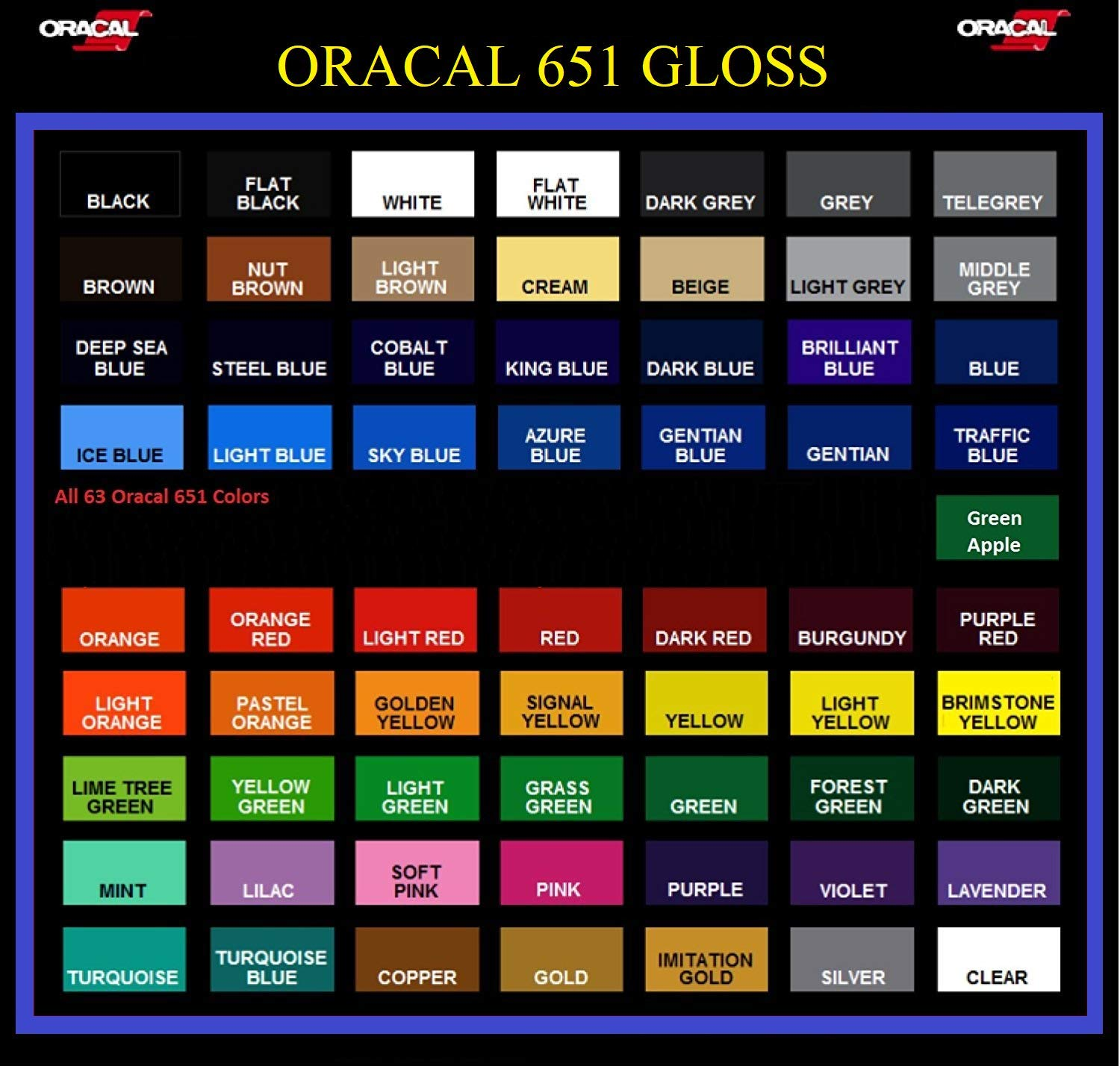 Oracal 651 Vinyl Rolls 5ft x 12'' Choose from 64 Colors (14 Rolls)