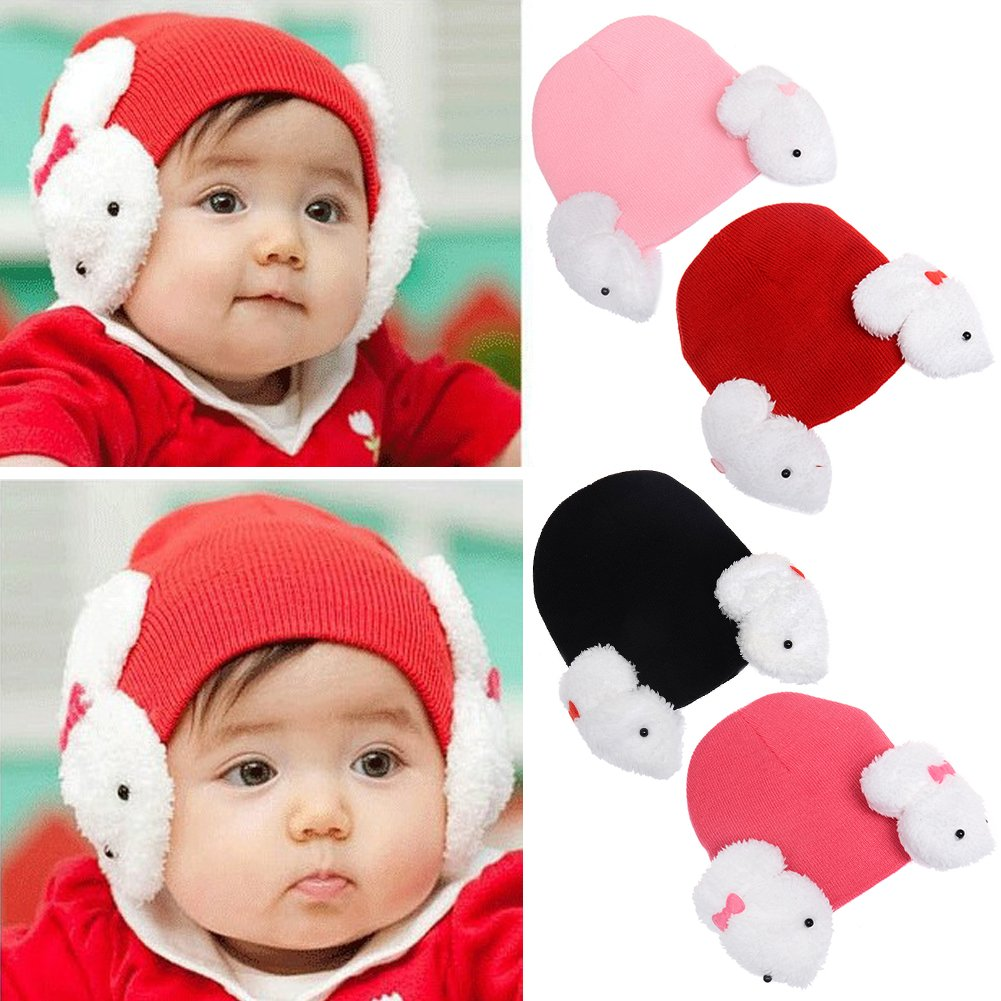 elegantstunning Baby Boy Girl Cartoon Dual Rabbit Ear Earmuffs Hat Warm Soft Knitted Cap