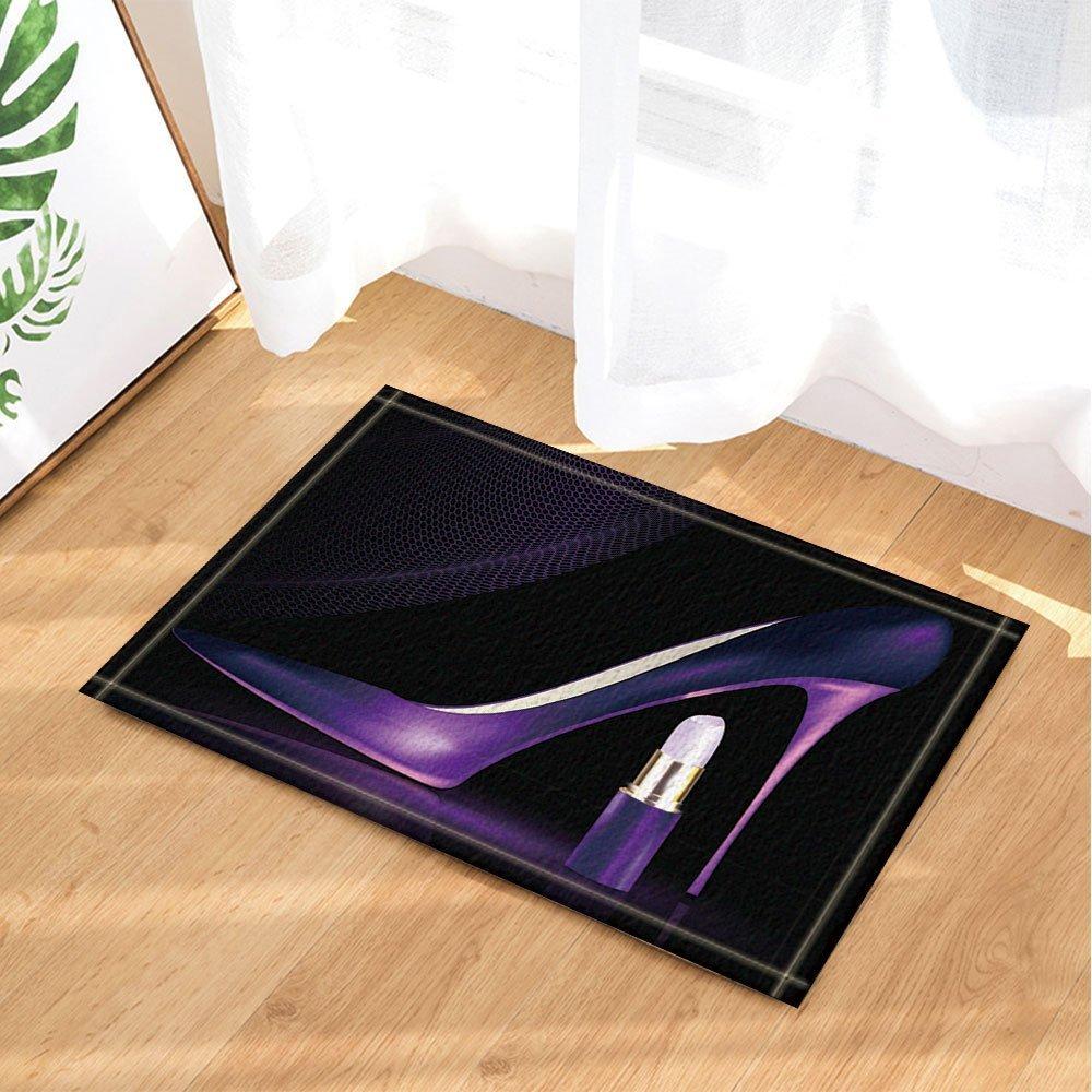 HiSoho Cosmetic and Make Up Decor Elegant Purple High Heels with Lipstick in Black Bath Rugs Non-Slip Doormat Floor Entryways Indoor Front Door Mat Kids Bath Mat 15.7x23.6in Bathroom Accessories