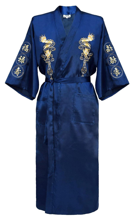 Japanisher herren Kimono Morgenmantel Bademantel Satin schwarz, blau oder burgund
