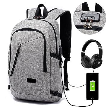 Mochila para portátil elegante, FLYMEI para ordenador de 15.6 pulgadas, mochila escolar, mochila