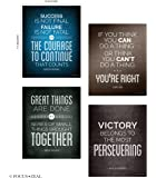 Quotes Motivational Inspirational Happiness Decorative Poster Print for Courage, Think You Can, Great Things, Victory, Persevering, Success 8 x 10 Inch Set of 4