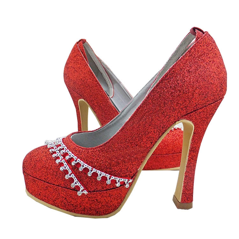 ZHRUI GYMZ642 Chaussures de mariée Mariage Mariage Mariage Paillettes Bout Rond Talon Haut Satin (Couleuré   rouge-10cm Heel, Taille   4 UK) c17
