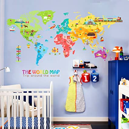 Amazon iceydecal super large world map wall decal kids iceydecal super large world map wall decal kids educational animalnational flag gumiabroncs Images
