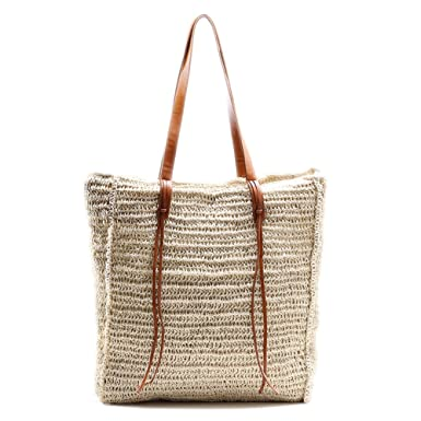 5457d792d Amazon.com: Beach Bag by Miss Fong, Tote Bag For Women, Straw Bag with  Inner Zipper Pocket and Leather Handle: Clothing