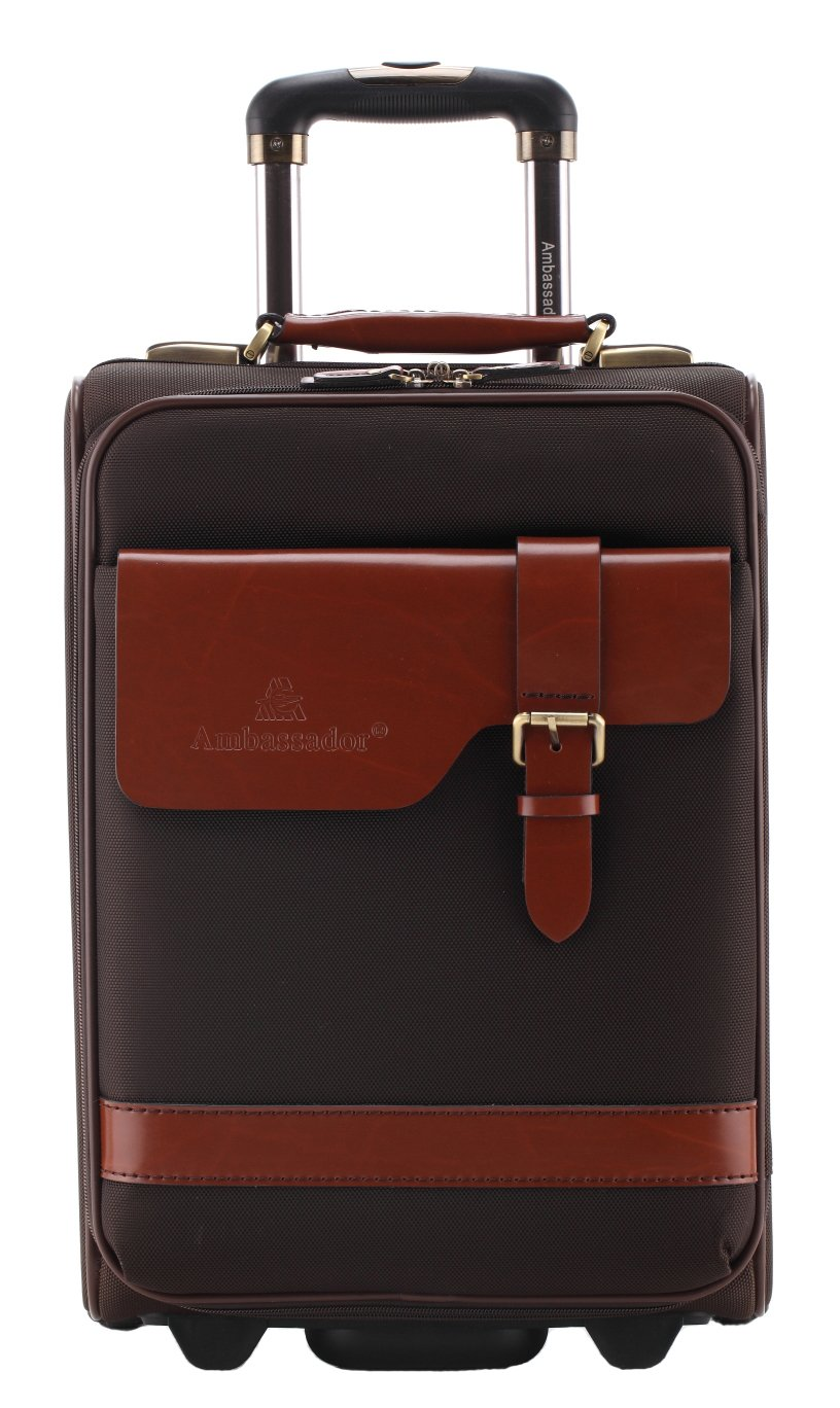 Ambassador Vintage Top Grain Leather Carry On Luggage Mobile Business Trolley Suitcase 20 Inch by Ambassador