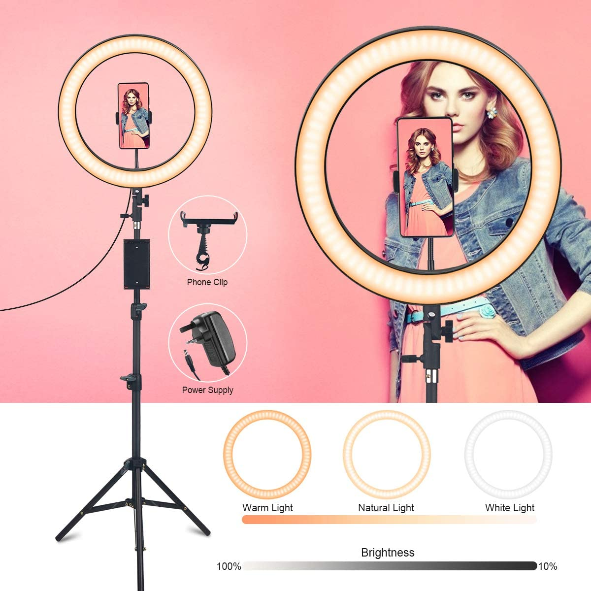 """DMYCO 14"""" LED Ring Light with Tripod Stand & Phone Holder for YouTube Video, Live Streaming, Makeup & Photography Dimmable Desktop Makeup Ring Light with 3 Light Modes & 10 Brightness Level (14inch)"""