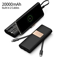 iWalk 20000mAh Power Bank Quick Charge QC3.0/2.0 Built-in Lightning Type-C & Micro USB Cables Portable External Battery Pack Charger,for iPhone X 8 7 6 5s Plus SE ipad,Samsung S9/S8/S7 and More(Black)
