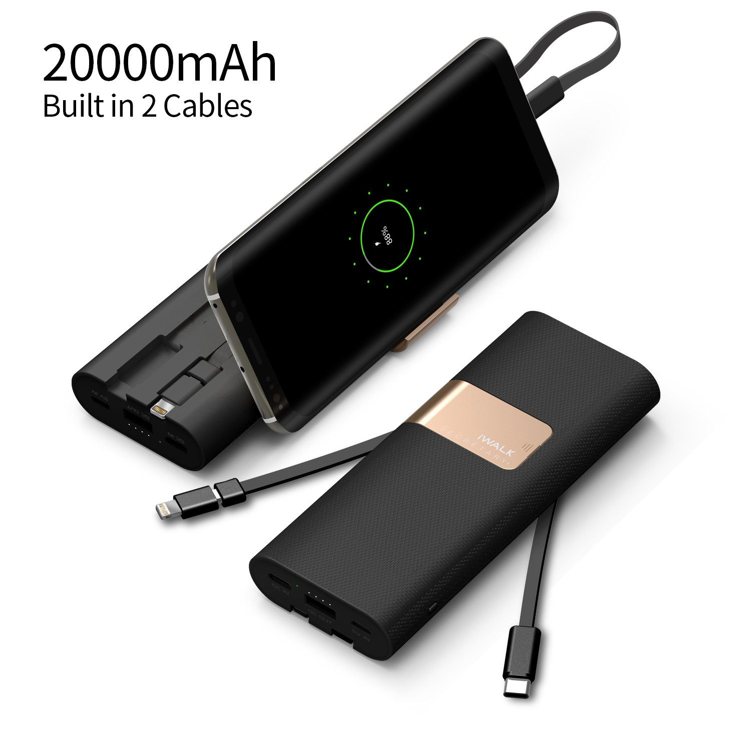 iWALK 20000mAh Power Bank Quick Charge QC3.0/2.0 Built-in Lightning Type-C & Micro USB Cables Portable External Battery Pack Charger,Compatible iPhone X 8 7 6 5s Plus,Samsung S9/S8/S7 and More(Black)