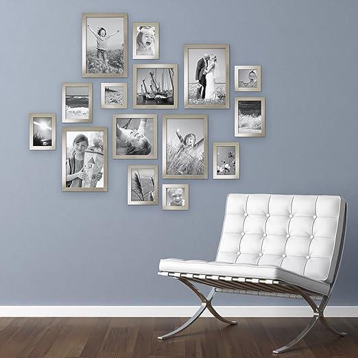 Cornici Moderne Per Foto.Opinioni Per Set Da 15 Cornici Moderne Argento In Legno