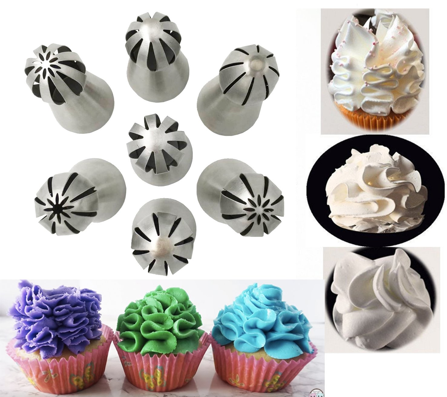 New JJMG Ball Russian Stainless Steel Tips Tulip Sphere Whip Cream Buttercream Icing Piping Nozzles DIY Baking Tools Small Torch for Decoration Cupcake Fondant Cake Pastry (7 pcs Ball Russian tips)
