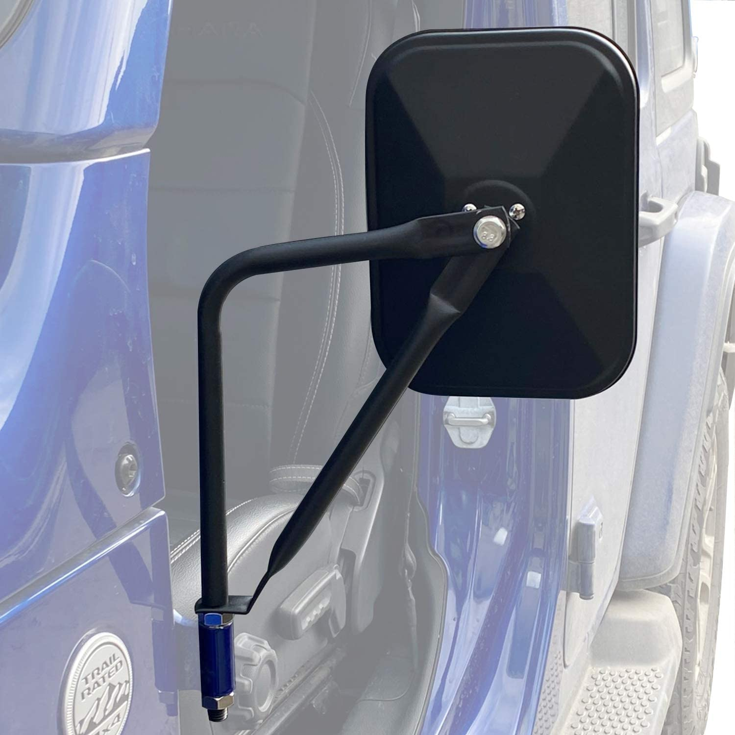 2Pack JUSTTOP Square Adventure Side View Mirrors for Jeep Wrangler CJ YJ TJ JK JL /& Unlimited,Quicker Install Door Hinge Mirror for Safe Doors Off Driving